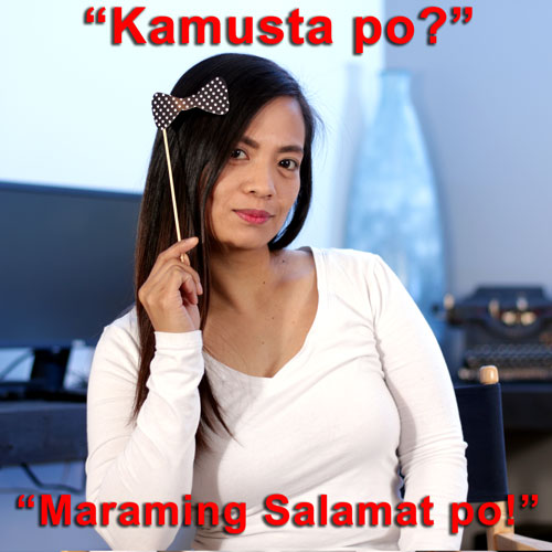 """A portrait of computer tech Leigh Harper holding a fun hair bow prop up to her head with the phrases """"Kamusta po?"""" and """"Maraming Salamat po!"""""""